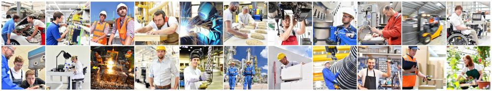 pracownicy pracujący w różnych zawodach