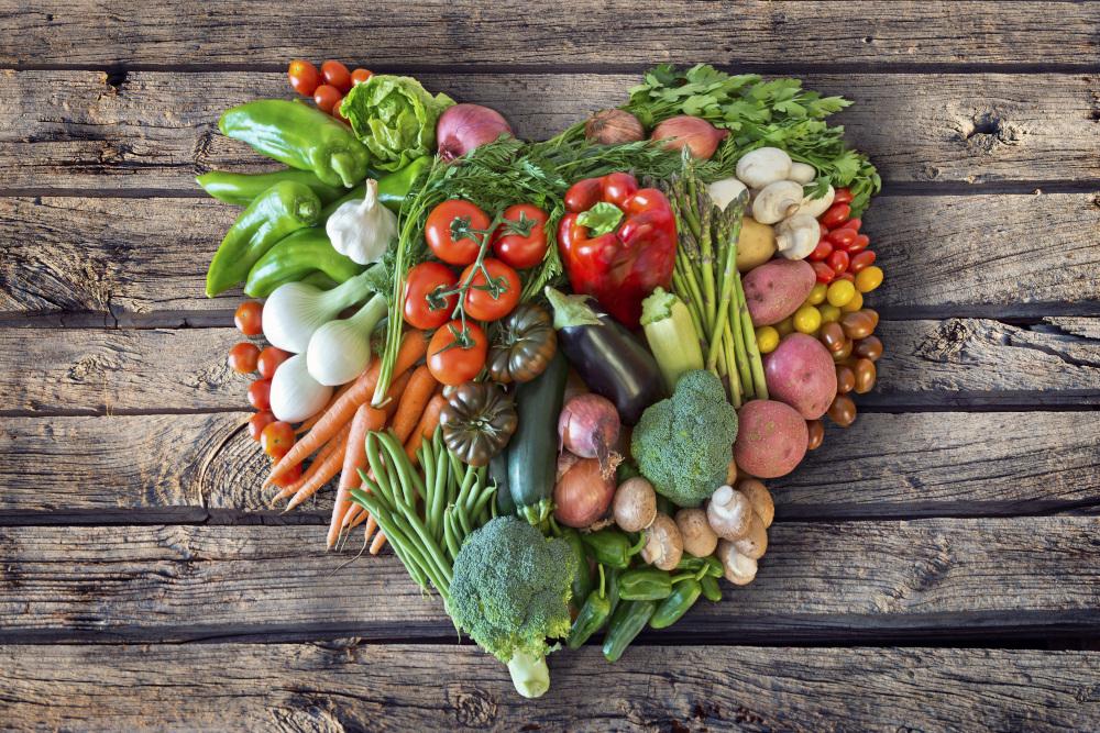 warzywa ułożone w kształcie serca